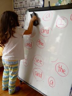 A fun way to practice sight words...write them on the white board, call out a sight word and erase them! You can also do it with math facts!