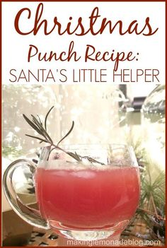 BEST Christmas Punch Recipe: Santa's Little Helper! Substitute Sprite for the bubbly and it's perfect for ALL your holiday parties!