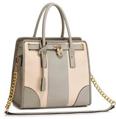 Grace -Grey/Nude tote handbag with metal chain strap. Will hold a standard laptop. Great for college or work