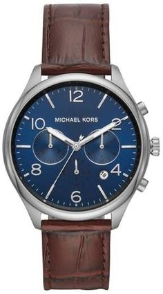 Michael Kors Classic Mens Chronograph Brown Leather Watch - Michael Kors Watch - Ideas of Michael Kors Watch Brown Leather Strap Watch, Leather Watch Bands, Expensive Watches, Vintage Watches For Men, Watch Sale, Michael Kors Watch, Chronograph, Bracelet Watch, Jewelry Watches