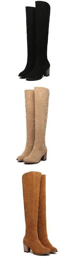 Apricot & Black & Brown Chunky Heel Zipper High Boots, perfect for winter.