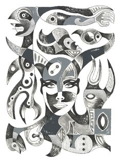"""WOMAN AND PRIMITIVE ICONS Charcoal pencil and gouache on watercolor paper. 18"""" x 24"""""""
