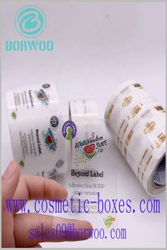 Transparent label with printing. The printed content on the clear label can be used to explain the product and brand. Transparent Labels, Clear Labels, Cosmetic Labels, Cosmetic Box, Adhesive, Cosmetics, Prints, Content, Makeup Box