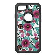 Girly Pink and Teal Watercolor Floral Illustration OtterBox Defender iPhone 8/7 Case - elegant gifts gift ideas custom presents