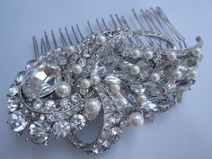 Crystal Rhinestones Hair Comb - vintage inspired bridal hair comb , swarovski pearl comb,bridal hair accessories, wedding pearl comb. $75.00, via Etsy.