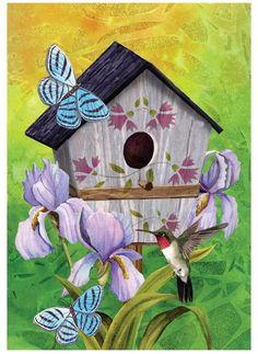 "Meadow Creek ZAC14S4423 Butterfly Birdhouse Garden Flag, 18"" H x 12-1/2"" W"