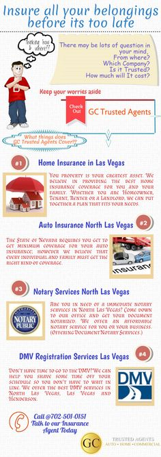 Get all types of insurance policies and other services done under one roof by GC Trusted Agents in Las Vegas Call @ 702-501-0151