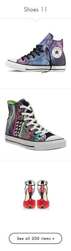 """Shoes 11"" by summersurf2014 ❤ liked on Polyvore featuring shoes, sneakers, converse, sapatos, pattern, zapatos, footwear, multi canvas, white hi top sneakers and converse high tops"