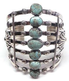 Navajo Handmade Sterling Silver Dry Creek Large Bracelet - Emer Thompson
