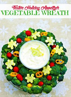 Festive Holiday Appetizer: Vegetable Wreath - make something simple and healthy, but festive and fun at the same time! AD #Marzetti
