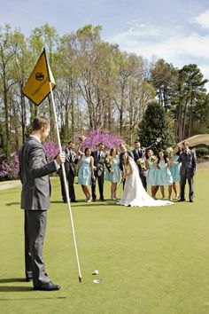 Bride + Groom and Wedding Party on the Golf Course