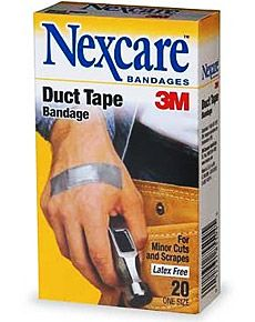 DUCT TAPE BANDAGES  Forget the flesh colored Band-Aids, and opt for some man-approved Duct Tape Bandages ($4). Made from real 3M duct tape, these adhesive bandages are more durable than standard ones, and are even longer to wrap around your sausage fingers.