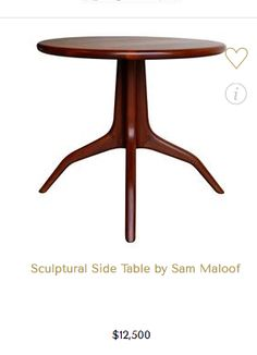 Handcrafted walnut side table by Californian woodworker Sam Maloof. This piece is branded.