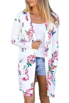 f285921ec3 online shopping for Aking Women Long Sleeve Floral Print Open Front Kimono Cardigans  Outwear from top store. See new offer for Aking Women Long Sleeve ...