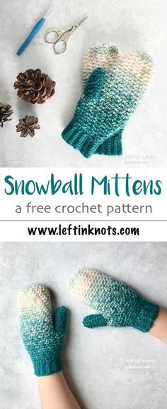 A modern and free crochet mitten pattern using Lion Brand Scarfie yarn. The Snowball Mittens use the grit stitch to make that incredible texture! These mittens also match my popular Snowball Slouch Hat - another free crochet pattern available on my blog. #crochet #freecrochetpattern #lionbrandyarn