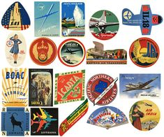 20 Vintage Airline Luggage Labels Air Travel Digital Download Collage Sheets. $3.99, via Etsy.