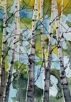Original Aquarell-Malerei von Jim Lagasse Bäumen Malerei