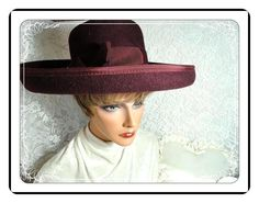Wide Brimmed Hat   Purple Vintage Hat  Wool by bodaciousjewels