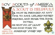 Postcards from 1913 on each of the twelve points of the scout law