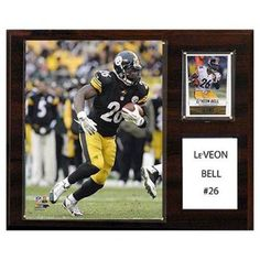 C and I Collectables NFL 15W x 12H in. Le Veon Bell Pittsburgh Steelers Player Plaque - 1215LVBELL
