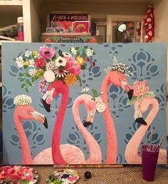 """New Money""- Heather Gauthier Art Original flamingo Acrylic Painting"