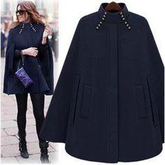 Womens Cloak Cape Wool Poncho Batwing Jacket Coat parka Outwear Winter Warm new Poncho Coat, Coat Dress, Poncho Mantel, Wool Cape, Warm Dresses, Capes For Women, Ladies Capes, Dress Shirts For Women, Cashmere Coat