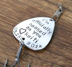 This listing includes a hand stamped personalized fishing lure. It has an extra strong treble hook and a swivel snap connecter. It is hand lovegifts Fathers Day Gifts, Valentine Day Gifts, Valentines, Bf Gifts, Love Gifts, Gifts For Him, Best Fishing Lures, Fishing Tips, Hand Gestempelt