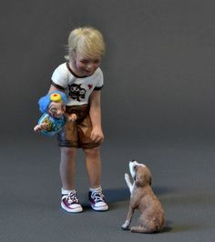 The Boy and the puppet   1:12 scale,   OOAK Doll Art ,    Sculpture by AMSTRAM-mine! Louise Glass