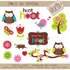 Digital Clipart  Owls in Spring DC3777 by MyClipArtStore on Etsy, $3.50