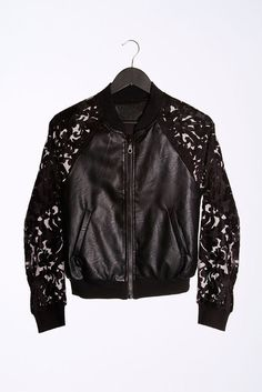 Leather and Organza Lace mixed Bomber Jacket