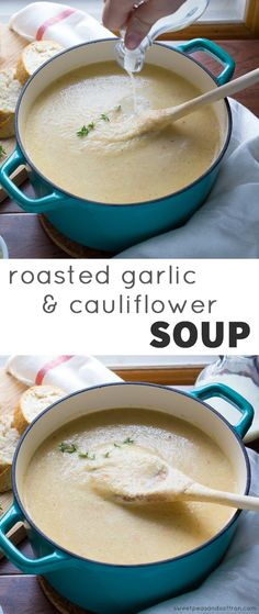Roasted Garlic and Cauliflower Soup with Anchovy Buttered Toast @sweetpeasaffron