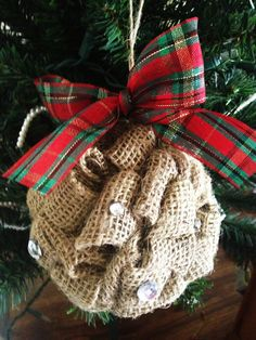 Burlap Ornament with Rhinestones. Cute Holiday by SamanthaBugglin