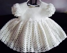 Crochet Baby Dress Infant Red and White 3-6 mo