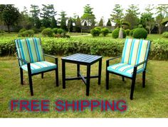bistro patio set outdoor garden comfortable cushion lawn furniture table 3 pcs