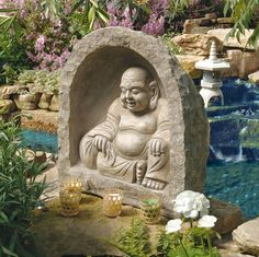 Sculpted with the tranquil majesty of those in ancient monasteries, this three-dimensional work of decorative Asian art creates a meditative niche for home or garden. Wherever the gentle Buddha finds a home, this spiritual tribute deserves a place of honor.