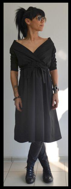 Long tunic dress/V-neck dress/Black Daywear dress by ClothesByLockerRoom on Etsy https://www.etsy.com/uk/listing/255252657/long-tunic-dressv-neck-dressblack