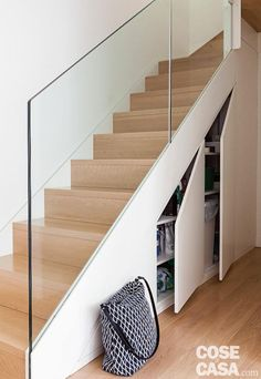 24 Clever Loft Stair Design for Tiny House Ideas Staircase Storage, House Staircase, Interior Staircase, Loft Stairs, Stair Storage, Under Stairs, Stair Railing Design, Home Stairs Design, Stair Decor