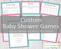 Custom Printable Baby Shower Games  PDF Format by thelittledabbler