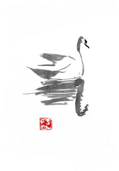Buy swan, an Ink Painting on Paper, by pechane sumie from France, For sale, Price is $235, Size is 15.7 x 11.8 x 0 in.