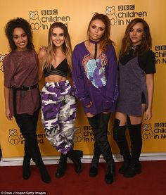 Bringing the glam: Leigh-Anne Pinnock, Perrie Edwards, Jesy Nelson and Jade Thirlwall of Little Mix looked casual but striking as they arrived at the BBC studios for Children In Need