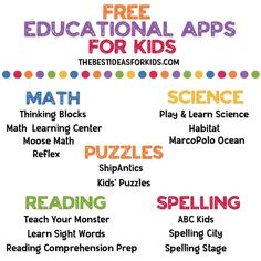 Over 35 of the Best Educational Apps for Kids - from Math, Science, Reading, Language, Social Studies and more! Free Learning Apps, Learning Websites For Kids, Educational Websites For Kids, Kids Learning Activities, Teaching Kids, Educational Crafts, Educational Leadership, Homeschool Apps, Homeschooling