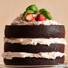 Part cake, part fudgy brownie, this dessert was made for chocolate-lovers. We dare you to stop at just one slice of this cake that's stacked high with the most decadent butter-filled frosting. http://www.bhg.com/recipes/from-better-homes-and-gardens/march-2015-recipes/?socsrc=bhgpin031515darkchocolatecakewithstrawberrybuttercreaom&page=3