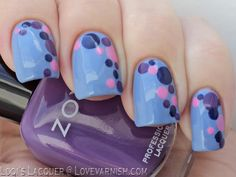 31 Day Nail Art Challenge - Polkadot Nails! I first painted my nails baby blue with Kiko - 339 Cornflower and then used several sizes dotting tools to make the pattern (the largest dots were actually made with the back of a pen, who needs fancy store bought tools right?). For the dots I used: Zoya - Mira (purple), China glaze - Dance baby (pink) and Herome - Frankfurt (blue).