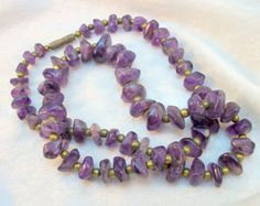 Amethyst Nugget Beaded Necklace  Vintage 70s by TwoDogVintage, $25.00