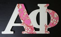 These connected MDF letters are for Alpha Phi. We can also add a name to personalize this item for $3.   #AlphaPhi #APhi #sorority #letter