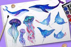 Sea Life - watercolor by Librebird on @creativemarket
