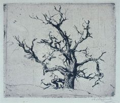 """""""Tree"""", c. 1900, Abraham Walkowitz, American (1880-1965), etching on paper, 5 3/4 x 6 3/4 in. Museum purchase with funds from the Benefactors Fund, 1977. 1977.2473"""