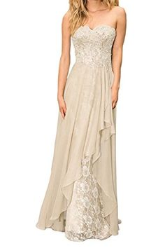 VP 2015 A-Line Strapless Brush Beaded Lace Chiffon Long Evening Prom Gowns  Dress Size 0c5a214f78c6