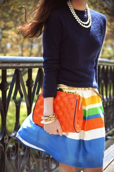 Love this! Sweater with the colorful skirt. Love the stripes. Looks like Spring but could be a fun pop of color in Winter paired with the sweater