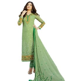 Naksh - NAKSH CREATION WOMENS GREEN GEORGETTE STARIGHT CUT SALWAR SUIT